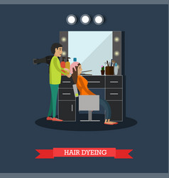 Hair dyeing concept in flat vector