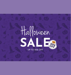 halloween sale banner and background vector image