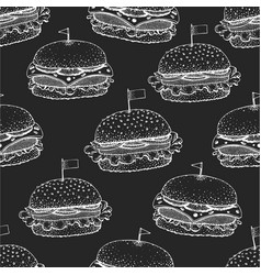 hand drawn burger seamless pattern america vector image
