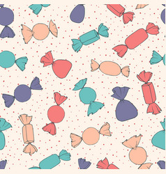 hand drawn candies seamless pattern vector image
