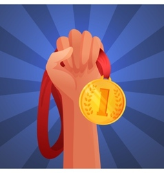 Hand holding medal vector