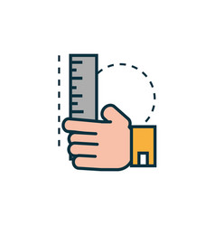 Hand with ruler work tools engineering icon vector