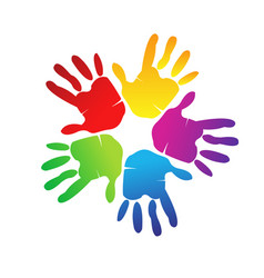 hands print in vivid colors logo vector image