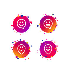 happy face speech bubble icons pointer symbol vector image