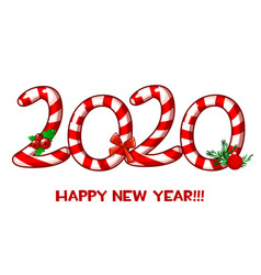 Happy new year 2020 text as candy vector