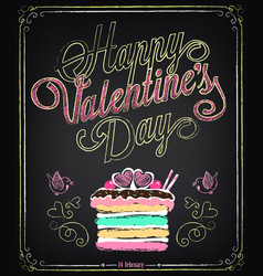 happy valentines day background retro design vector image