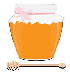 Honey spoon and pot vector image