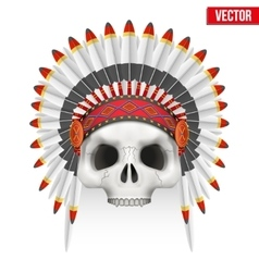 Human skull with indian chief hat vector image