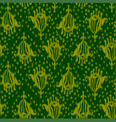 Ikat seamless bohemian ethnic green pattern vector