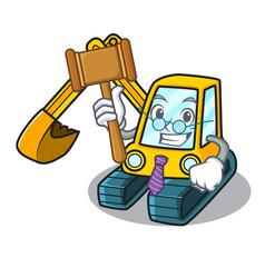 Judge excavator mascot cartoon style vector