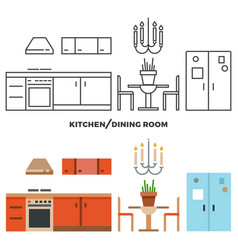 Kitchen and dining room furniture and accessories vector