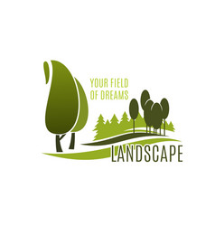 Landscape design symbol with green tree plant vector