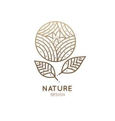 Logo round flower vector