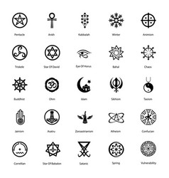 Magical symbol glyph icons pack vector