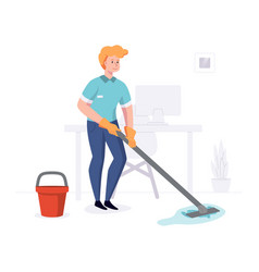 man from cleaning company staff cleans office vector image