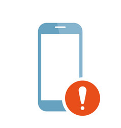 mobile phone icon with exclamation mark vector image