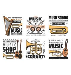 Music icons concert festival instruments shop vector
