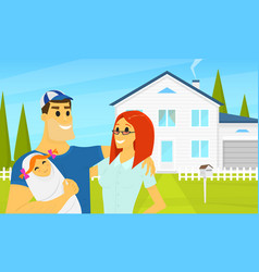 my happy family in background house vector image