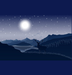 night mountains landscape with deer on the hills vector image