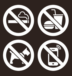 no smoking food or drink dogs and cell vector image
