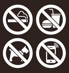 no smoking no food or drink no dogs and no cell vector image