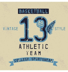 Old college vintage style print design with vector