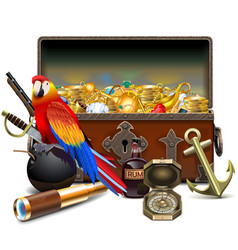 Old pirate chest with treasures vector