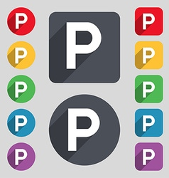 Parking icon sign A set of 12 colored buttons and vector