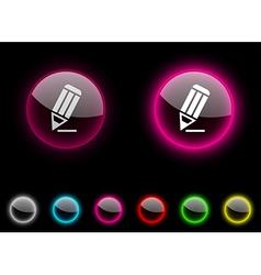 Pencil button vector image