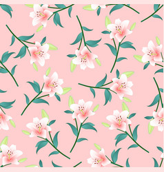 pink lily on pink background vector image