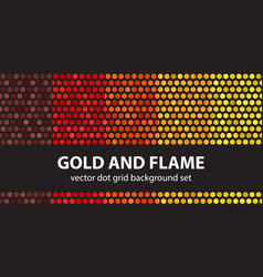 Polka dot pattern set gold and flame seamless vector