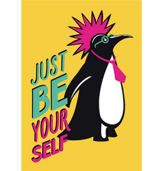 Pop art poster with penguin punk humorous vector