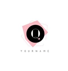 q letter pastel geometric shaped logo design vector image
