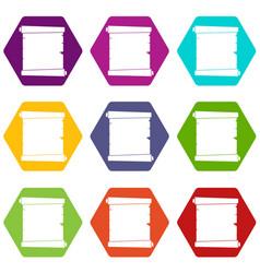 retro scroll paper icon set color hexahedron vector image
