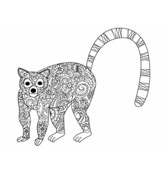 Ring tailed lemur coloring for adults vector image