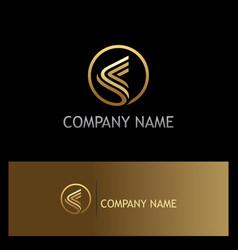 round stripe triangle gold logo vector image