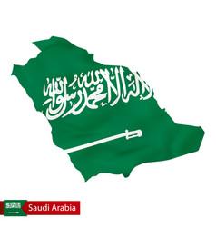 Saudi arabia map with waving flag country vector