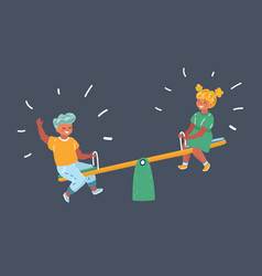 schoolboy and a schoolgirl on a seesaw vector image