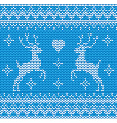 Seamless deer knitting background vector