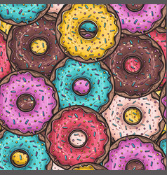 seamless pattern with colored donuts vector image