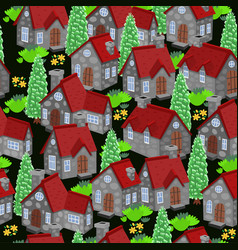 seamless pattern with houses and trees graphics vector image