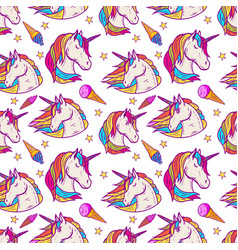 Seamless pattern with unicorn heads stars ice vector