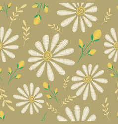 seamless texture embroidery floral design vector image