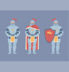 Set medieval knights in armor vector
