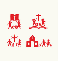 set of happy christian family and church vector image