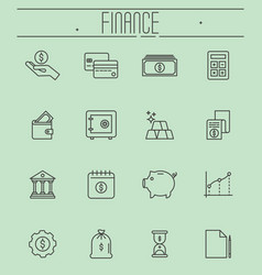 set of thin line icons - money finance vector image