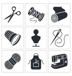 Sewing clothing manufacture icons set vector