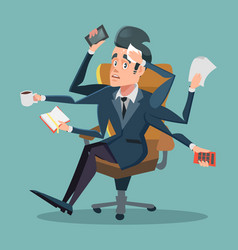 shocked multitasking businessman at office work vector image