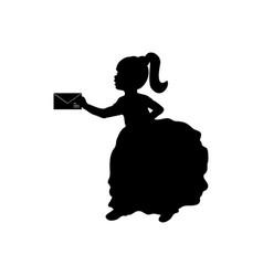 silhouette child girl holds letter vector image