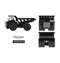 silhouette mining dumper on white background vector image